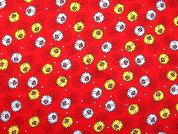 Toadstools Print Cotton Poplin Dress Fabric  Red