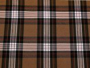 Plaid Check Stretch Suiting Dress Fabric  Brown