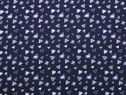 Triangles Print Polyester Crepe Dress Fabric  Navy Blue