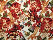 Christmas Print Cotton Fabric  Multicoloured