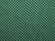 Squares Check Print Cotton Dress Fabric  Green