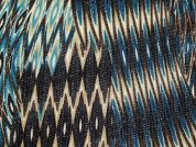 Abstrat Print Polyester Lace Mesh Dress Fabric  Brown & Turquoise