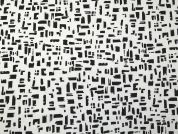 Abstract Print Stretch Cotton Sateen Dress Fabric  Black & White
