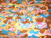 Teddy Bears Print Cotton Poplin Fabric  Multicoloured