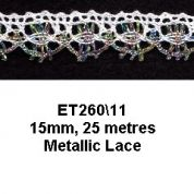 15mm Essential Trimmings Metallic Crochet Effect Lace Trimming  Purple