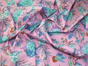 Floral Stretch Cotton Fabric  Pink