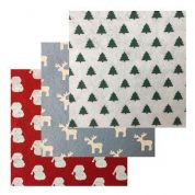 Assorted Christmas Print Designs Viscose & Wool Felt Fabric  Assorted Colours