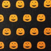 Halloween Print Viscose & Wool Felt Fabric  Black & Orange