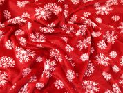 Snowflake Plush Fleece Fabric  Red