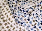 Double Sided Fleece Fabric  Blue & Beige