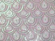 Flanders Scallop Sequinned Tulle Lace Dress Fabric  Ivory Pink