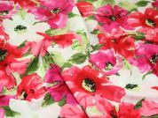 Large Floral Print Cotton Florence Dress Fabric  Bright Pink & Green