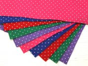 Polka Dot Print Viscose & Wool Felt Fabric  Assorted Colours
