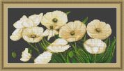Luca-S Counted Petit Point Cross Stitch Kit White Poppies II