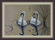 Luca-S Counted Petit Point Cross Stitch Kit Swans Pair