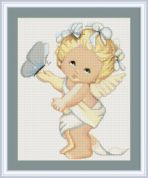 Luca-S Counted Petit Point Cross Stitch Kit Butterfly Angel