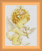 Luca-S Counted Petit Point Cross Stitch Kit Angel with Dove