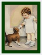 Luca-S Counted Petit Point Cross Stitch Kit Girl with Dog