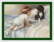 Luca-S Counted Petit Point Cross Stitch Kit Boy with Dog