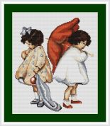 Luca-S Counted Petit Point Cross Stitch Kit Girls Upset