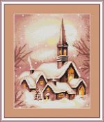 Luca-S Counted Petit Point Cross Stitch Kit Snowy Church