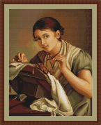 Luca-S Counted Petit Point Cross Stitch Kit Lady Sewing