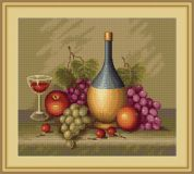 Luca-S Counted Petit Point Cross Stitch Kit Still Life with Grapes
