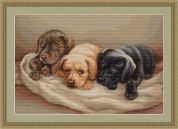 Luca-S Counted Petit Point Cross Stitch Kit Three Puppies