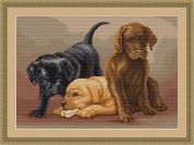 Luca-S Counted Petit Point Cross Stitch Kit Puppies