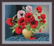 Luca-S Counted Petit Point Cross Stitch Kit Vase of Poppies