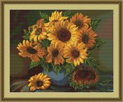 Luca-S Counted Petit Point Cross Stitch Kit Vase of Sunflowers