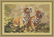 Luca-S Counted Petit Point Cross Stitch Kit Tiger Cubs