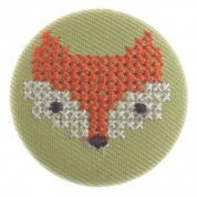 Impex Woodland Cross Stitch Fox Fabric Covered Buttons