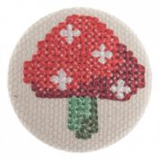 Impex Woodland Cross Stitch Toadstool Fabric Covered Buttons