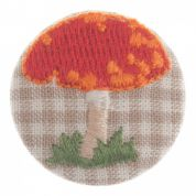 Impex Woodland Embroidered Toadstool Fabric Covered Buttons