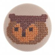 Impex Woodland Cross Stitch Owl Fabric Covered Buttons
