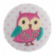 Impex Woodland Embroidered Owl Fabric Covered Buttons