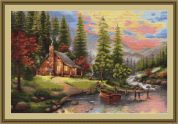 Luca-S Counted Petit Point Cross Stitch Kit Mountain Cabin