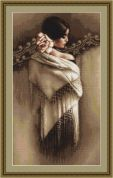 Luca-S Counted Petit Point Cross Stitch Kit Spanish Lady with Shawl