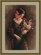 Luca-S Counted Petit Point Cross Stitch Kit Spanish Lady with Bouquet