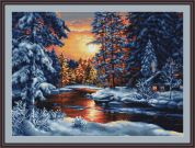 Luca-S Counted Petit Point Cross Stitch Kit Winter Landscape II