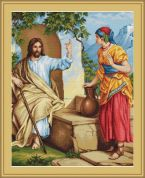 Luca-S Counted Petit Point Cross Stitch Kit Jesus at the Well