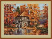 Luca-S Counted Petit Point Cross Stitch Kit Autumn Landscape