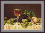 Luca-S Counted Petit Point Cross Stitch Kit Still Life with Wine Glass