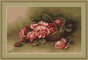 Luca-S Counted Petit Point Cross Stitch Kit Basket with Flowers