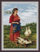 Luca-S Counted Petit Point Cross Stitch Kit Girl With Geese