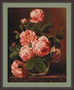 Luca-S Counted Petit Point Cross Stitch Kit Vase of Roses