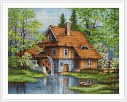 Luca-S Counted Petit Point Cross Stitch Kit Spring Landscape
