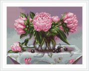 Luca-S Counted Petit Point Cross Stitch Kit Vase of Peonies
