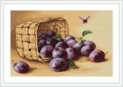 Luca-S Counted Petit Point Cross Stitch Kit Basket of Plums